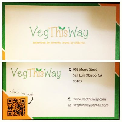 Business card of VegThisWay- A business that sells child friendly veggie snack bars!